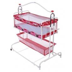 New Natraj Compact Cradle Cum Bassinet With Storage Basket Teddy Print - Red