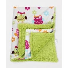 Mee Mee Sherpa Fabric Blanket Owl Print - Green