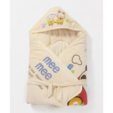 Mee Mee Shearling Hooded Blanket Animal Print - Light Yellow