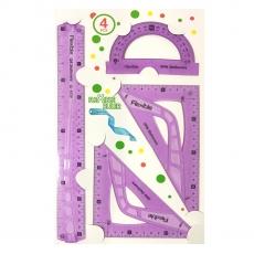 Plastic Silicon Flexible Ruler Set, 30 cm, Assorted Colors by Ruchiez